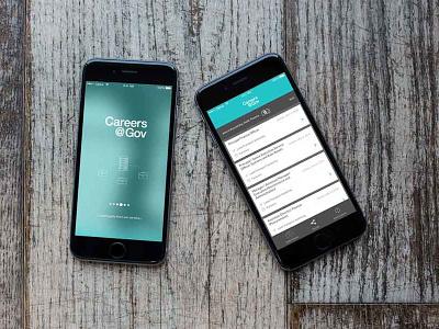 Careers App with Cards ios app blue cards