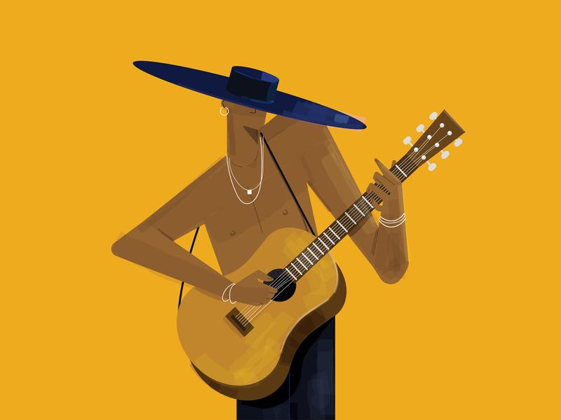 Much magic. design guitar characterdesign vector flat illustration