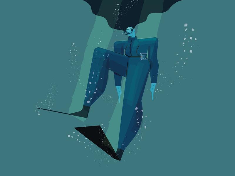 Dive diving digital illustration digitalart concept color vector characterdesign illustration design