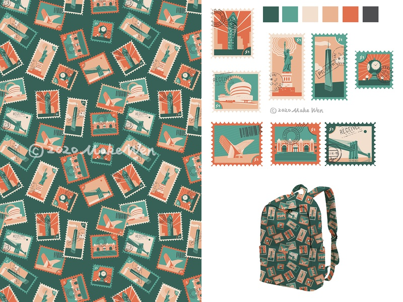 41 NYC Stamps stamps nyc geometric repeat illustrator surfacedesign pattern illustration handdrawn design