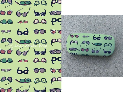 43 Sunglasses green colorful lineart repeat illustrator surfacedesign pattern illustration handdrawn design