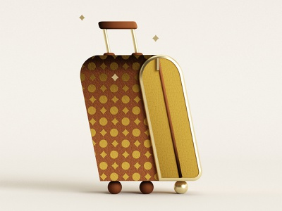 🧳 louis vuitton luggage travel c4d louisvuittonsuitcase louisvuitton louisvuittonluggage 3dillustration illustration minimal geometry geometric