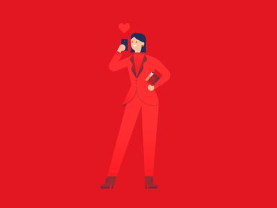 👠🍎📕 eva chen pose woman red eva chen flat colorful vector illustration character character design minimal geometry geometric