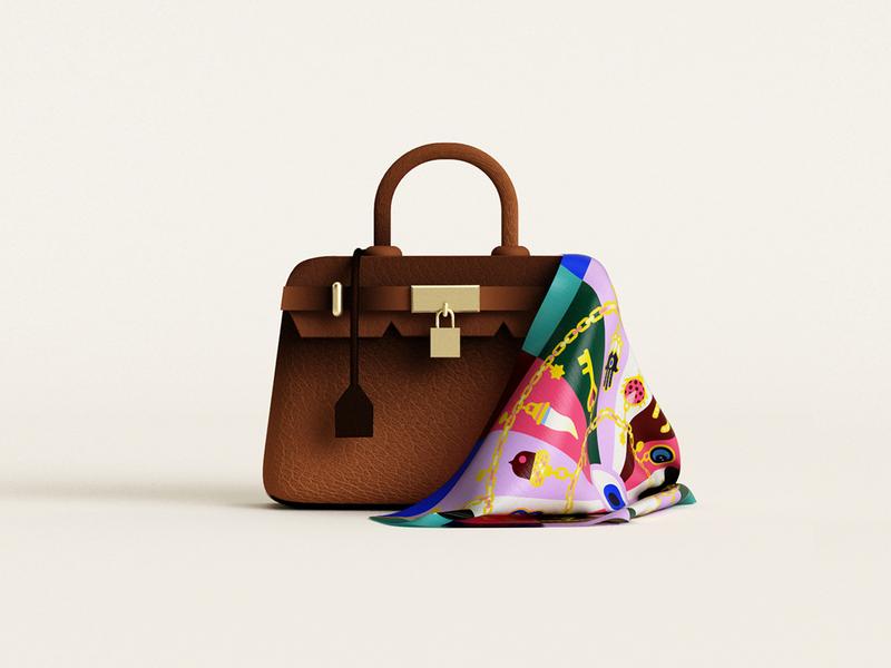 👜 fashion silk scarf bag hermes birkin birkinbag birkin c4d 3dillustration illustration minimal geometry geometric