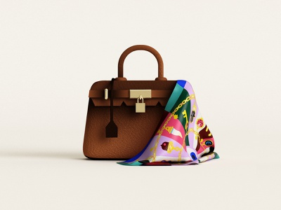 👜 fashion silk scarf bag hermes birkin birkinbag birkin c4d 3dillustration illustration minimal geometry geometric