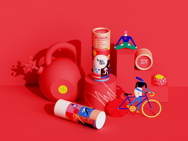 🔴 bomb bike yoga sports snacks tube packaging illustration packaging superfoods packaging food packaging colorful vector illustration character character design minimal geometry geometric