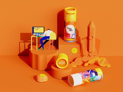 🍊 workspace work rocket boost office energy superfoods tube packaging food packaging packaging colorful vector illustration character character design minimal geometry geometric