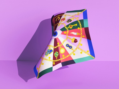 🧿 Good juju! silk charms textile good luck lucky charms textile illustration silk scarves textile design silk scarf colorful vector illustration minimal geometry geometric