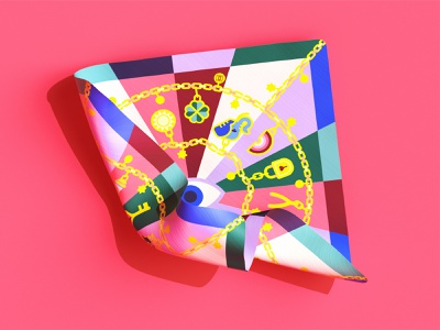 🍣 silk charms textile good luck lucky charms silk scarves silk scarf textile illustration colorful vector illustration minimal geometry geometric