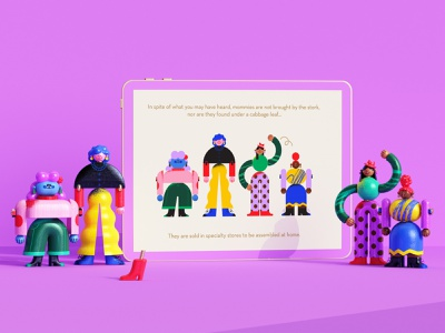 """""""How to buy, assemble and set up a Mommy"""" 3d character 3d illustration colorful wooden toys building blocks illustration character character design minimal geometry geometric"""
