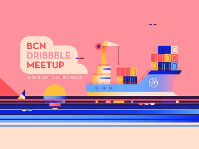 BCN Dribbble Meetup color block pink vessel nautical cargo boat sun ship sea bacelona meetup dribbble