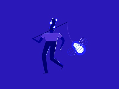 Tiny character exploration cobalt blue glow bee hat lanterns night men character design character