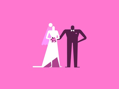 Tiny character exploration pink wedding groom bride character design character