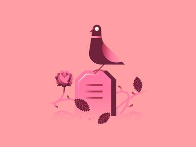 💕⚰️ minimal geometric shapes cemetery graveyard cinderella grimm brothers death pink pigeon grave rose halloween