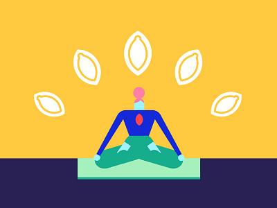 🧘 mindfulness mat lotus superfoods healthy seeds chakra pumpkin seeds woman character design character meditation