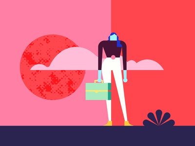 👩💻 girl power pink superfoods healthy red cloud suitcase woman character design character work bush