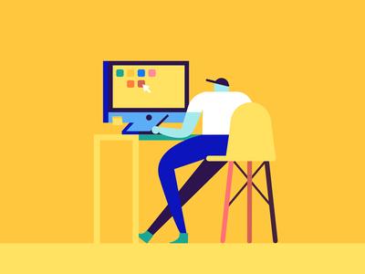 🖥️ designer yellow desktop working guy working computer character design character