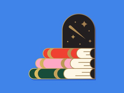 📚🔮 shooting star supportive solidary school cosmos stairs minimal geometry geometric donation colorful enamelpin education books caring