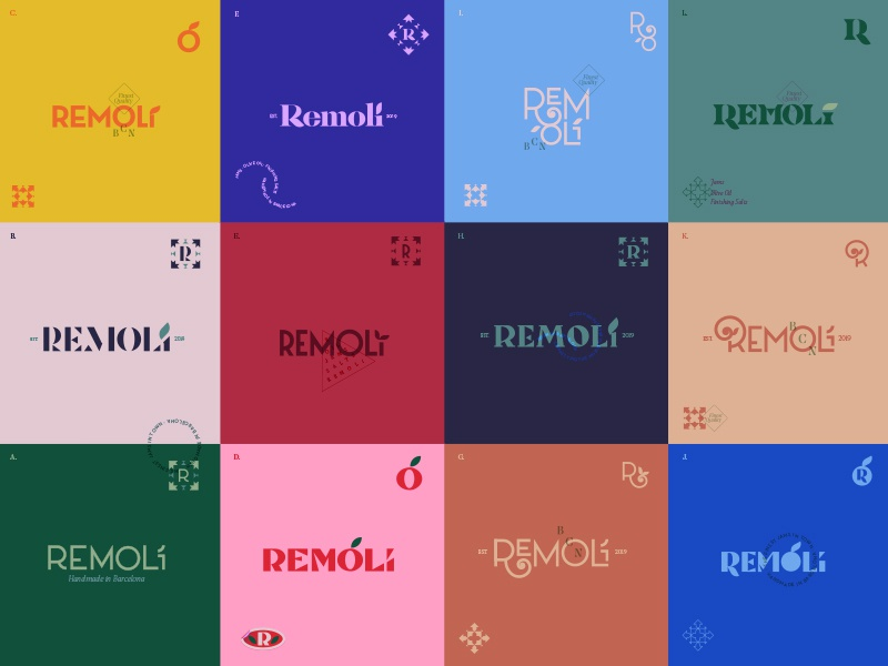 "Logos ""à gogo"" type mark lettering custom font typography color logotype logos logo branding identity color palette colorful minimal geometry geometric"