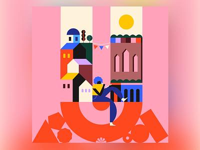 U 36daysoftype-u city building blocks building pink character 36daysoftype character design geometry minimal geometric