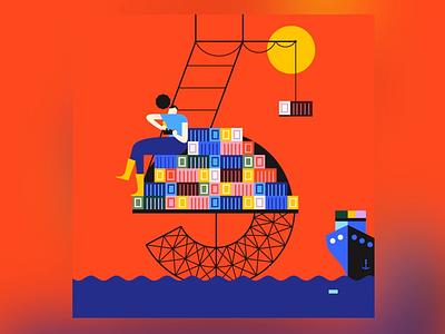 5 cargo ship 36daysoftype-5 boat ship sea city building blocks building character character design 36daysoftype geometry minimal geometric