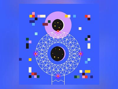8 aliens shooting star cosmos pixels ufo building blocks building 36daysoftype geometry minimal geometric
