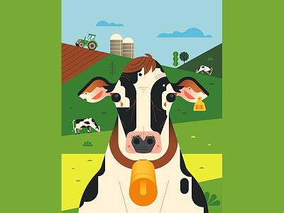 🐄 milk farming nature field animals farm cowbell cow geometry minimal geometric