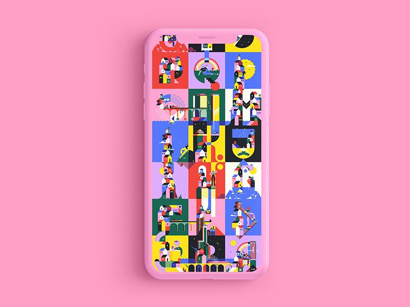 36 Days of type + Adobe building blocks colors vivid colors vector character design pink 36daysoftype geometry minimal geometric
