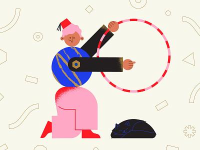 🎪 confetti fez fezhat tamer lion tamer circus vector character pink character design geometry minimal geometric
