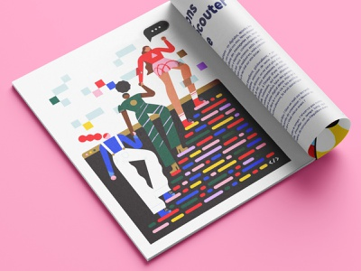 💕 women women in tech women empowerment coding code illustration vector pink character character design geometry minimal geometric