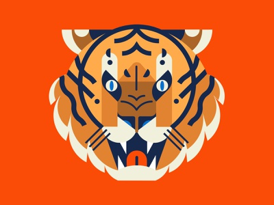 🐯 fierce big cats feline roar wild animal tiger illustration vector geometry minimal geometric