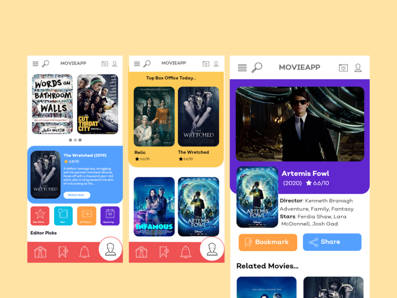 Movie App UI Design xd xd ui kit xd design app design uidesign ui design ui design
