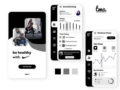 Nike Workout App Redesign Concept web uiux xd ui kit ui kit app design web design design xd design ui design adobe xd uidesign