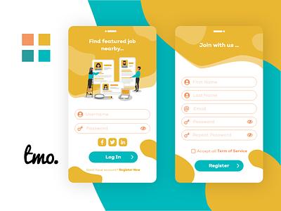 Job Portal Login & Register  Screen xd app design ui kit design ui xd ui kit xd design adobe xd ui design uidesign