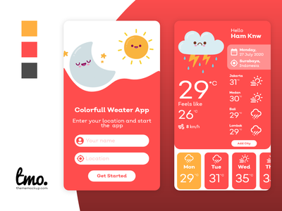 Colorful Weather App ui ui kit xd app design xd ui kit design xd design adobe xd ui design uidesign