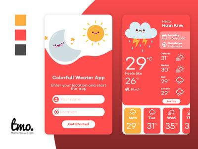 Colorful Weather App ui ui kit xd app design xd ui kit design xd design adobe xd ui design uidesign