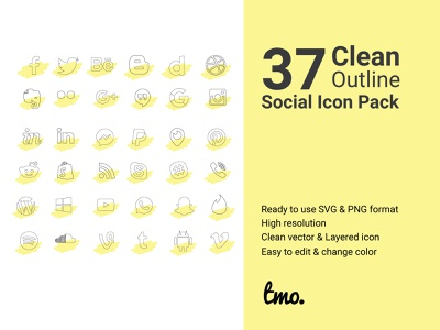 37+ Clean Outline Social Icon Pack icons set icons pack icon pack icon set icons icon design