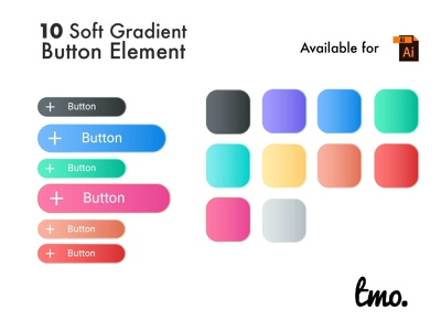 Soft Gradient Button Element ui kit illustration ui design ui buttons button design uidesign