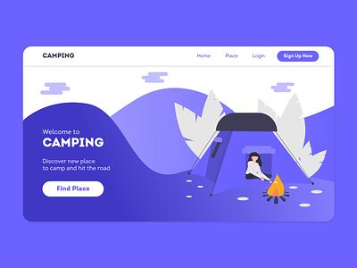 Camping Web Hero xd ui kit xd web web design design app design xd design adobe xd ui design uidesign