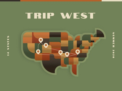 Going West map design illustration