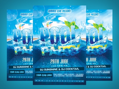 Summer Pool Party Flyer cocktail blue birthday bash bikini sexy summer party photoshop template flyer pool party summer
