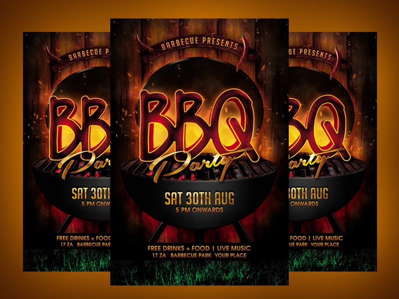 bbq party flyer template by dilan ranathugna dribbble dribbble