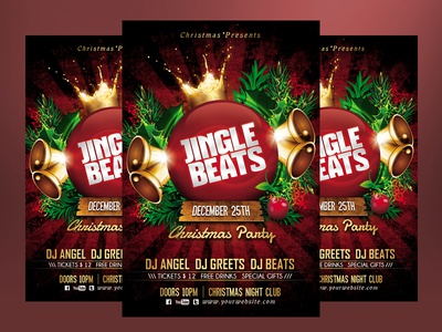 Jingle Beats Christmas Party Flyer Template