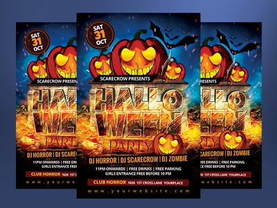Funky Halloween Party Flyer Template