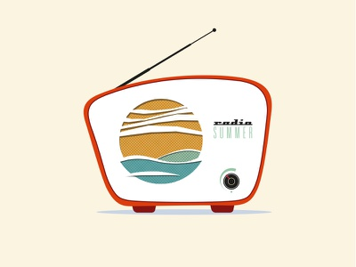 radio Summer beach see sand device typography vector illustration summer radio retro