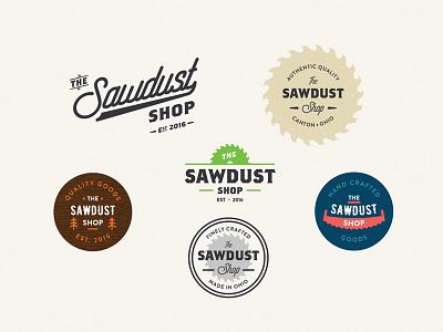 The Sawdust Shop ai illustrator craftsman woodworking wood branding lockup sawdust sawblade saw typography logo
