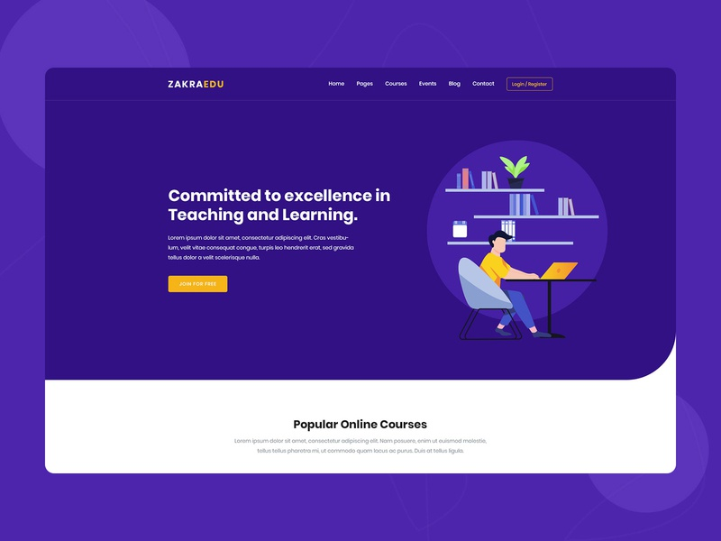 Zakra Edu - Online Courses and Education Template uidesign webdesign illustrations university tutor training teaching study school online education lms lesson learning institution elearning courses college center