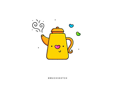 Teapot ☕️ minimal line drawing line design line work linework line art lineart colorful color yellow hearts characterdesign character design cute kettle tea pot teapot procreate illustrator illustration