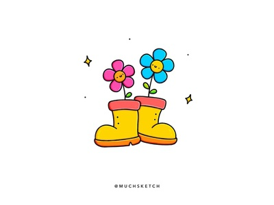 Rain boots ☔️ rainy day monsoon smiley face flower illustration flowers rain boots procreate brushes procreateapp procreate art procreate app art color minimal character kawaii character design drawing procreate illustrator illustration