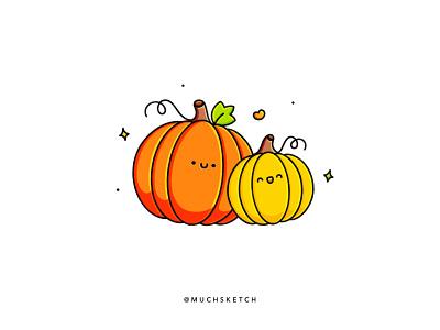 Mommy and baby pumpkin 🎃 happy halloween cute characters dribbbleweeklywarmup stamp design affinity designer vector orange pumpkin kawaii flat fall drawing design cute color autumn art procreate illustrator illustration